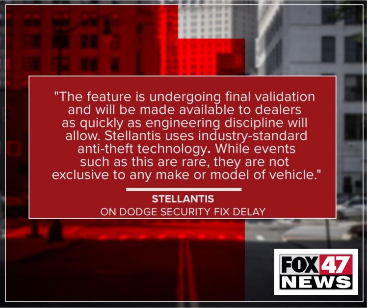 Stellantis on Dodge security fix delay