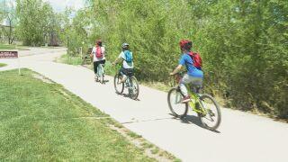 Family on Colorado Springs bike path
