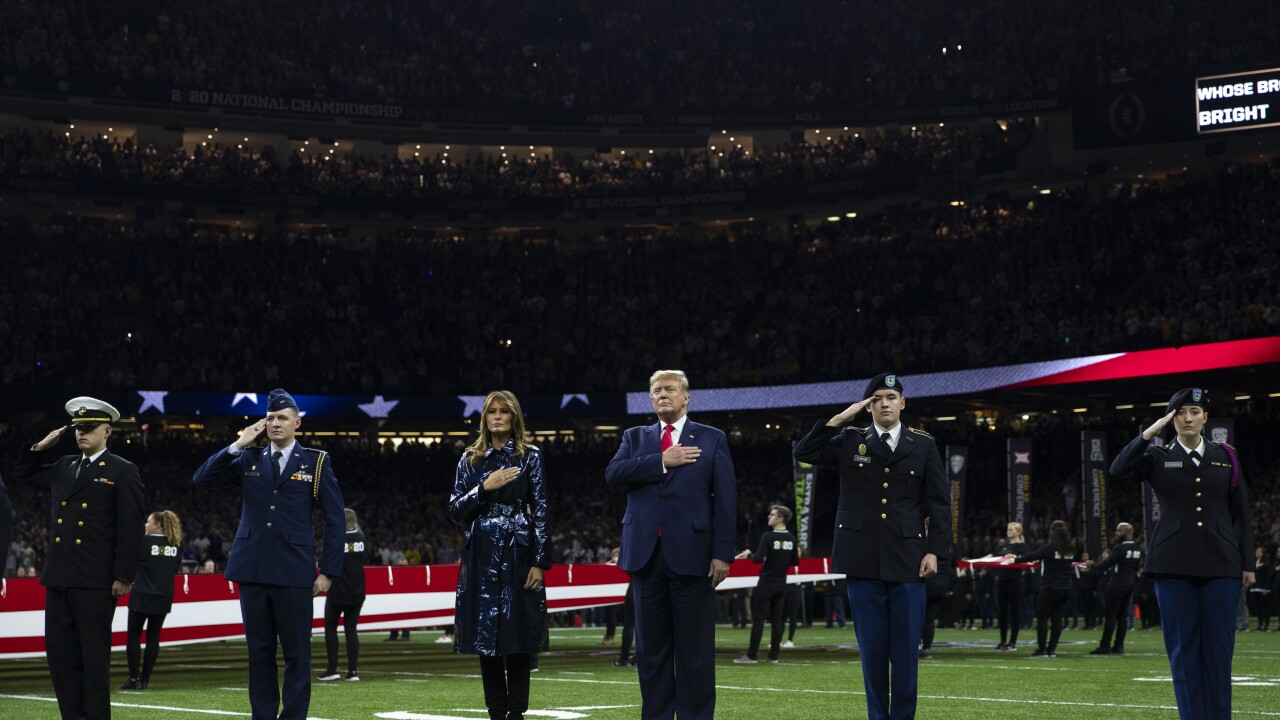 President Trump receives warm welcome at national title game