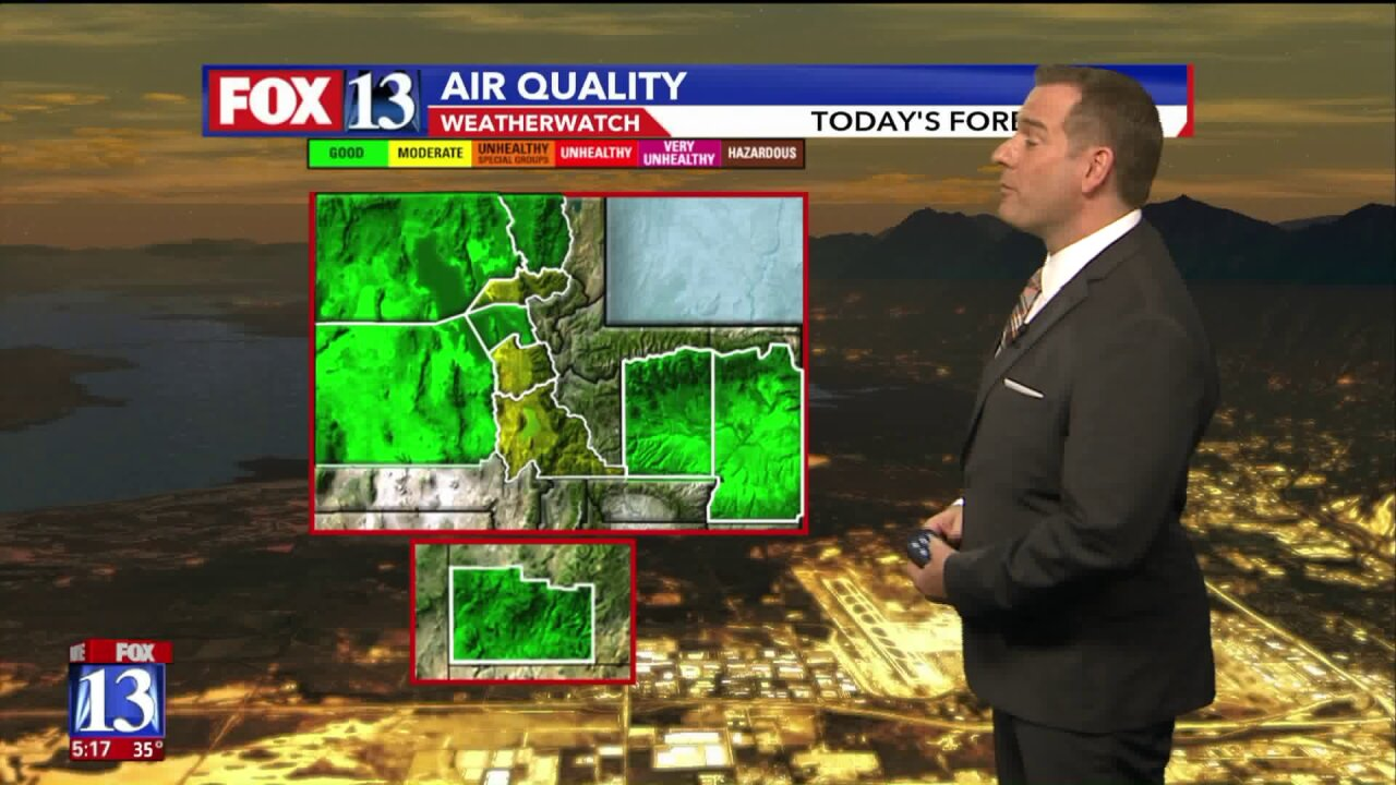 Air quality to stay yellow through the weekend for parts ofUtah