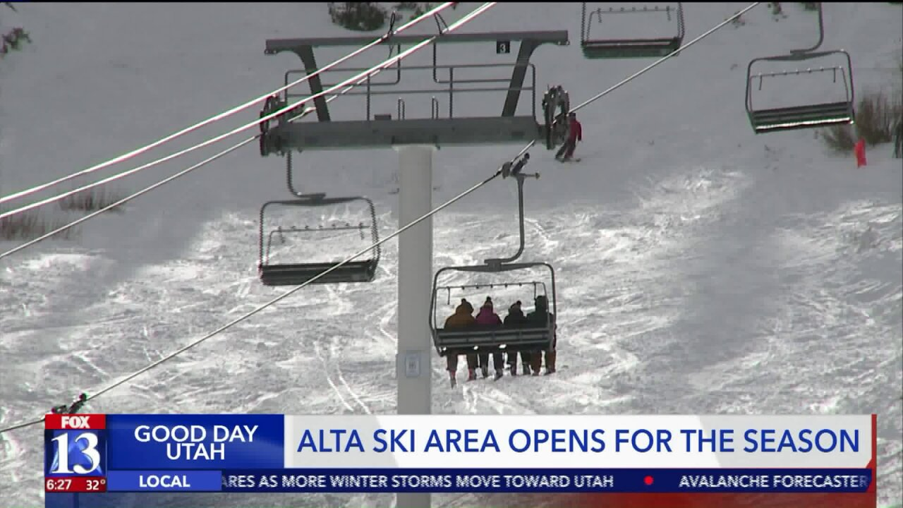 Skiers of all ages enjoy Alta ski area's opening day