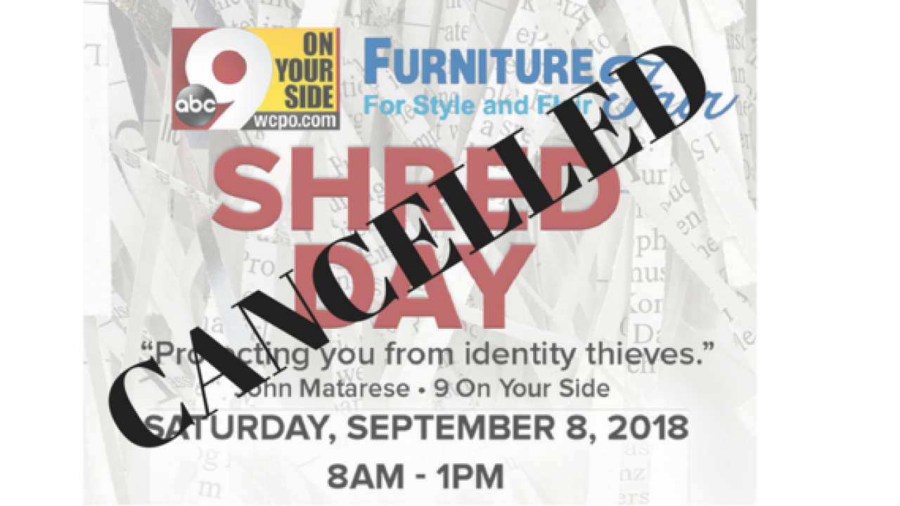 9 On Your Side Shred Day has been postponed