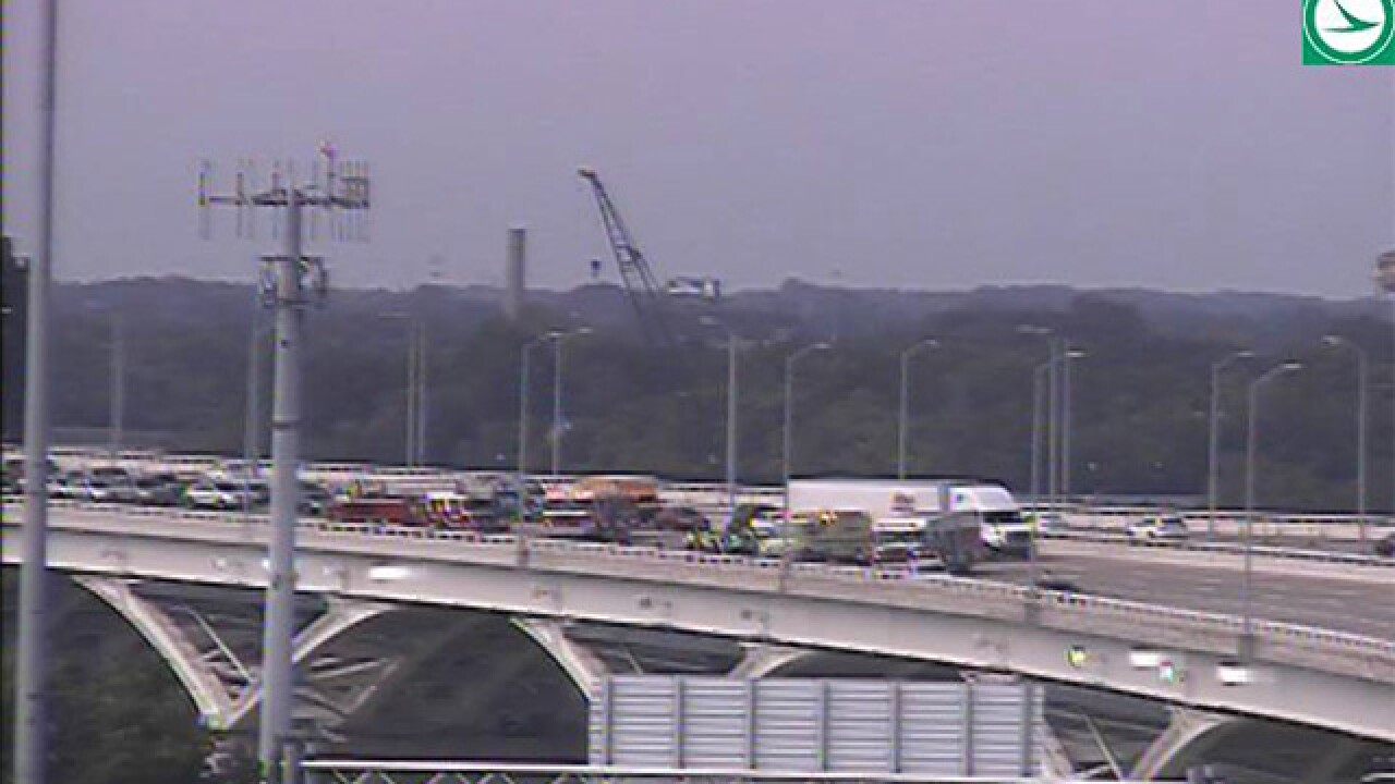 Crash shuts EB lane down on Voinovich Bridge