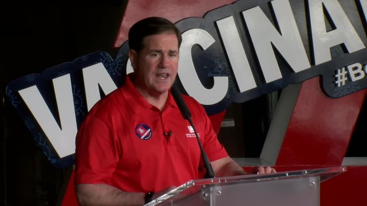 Gov. Doug Ducey visited the University of Arizona Vaccination POD on March 24, 2021.