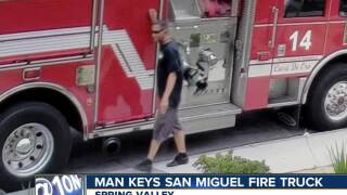Surveillance video captures man keying San Miguel Fire truck