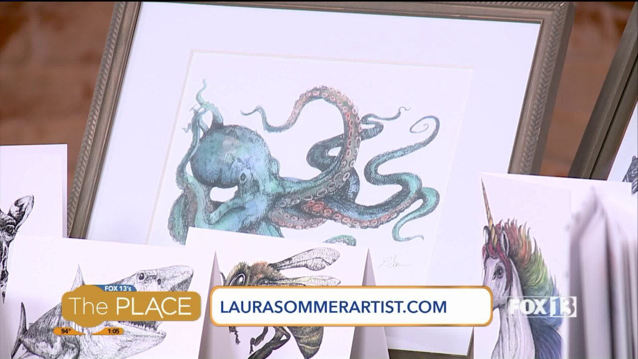 Local artist demonstrates her one-of-a-kind animal drawings, plus how you can win her children's book