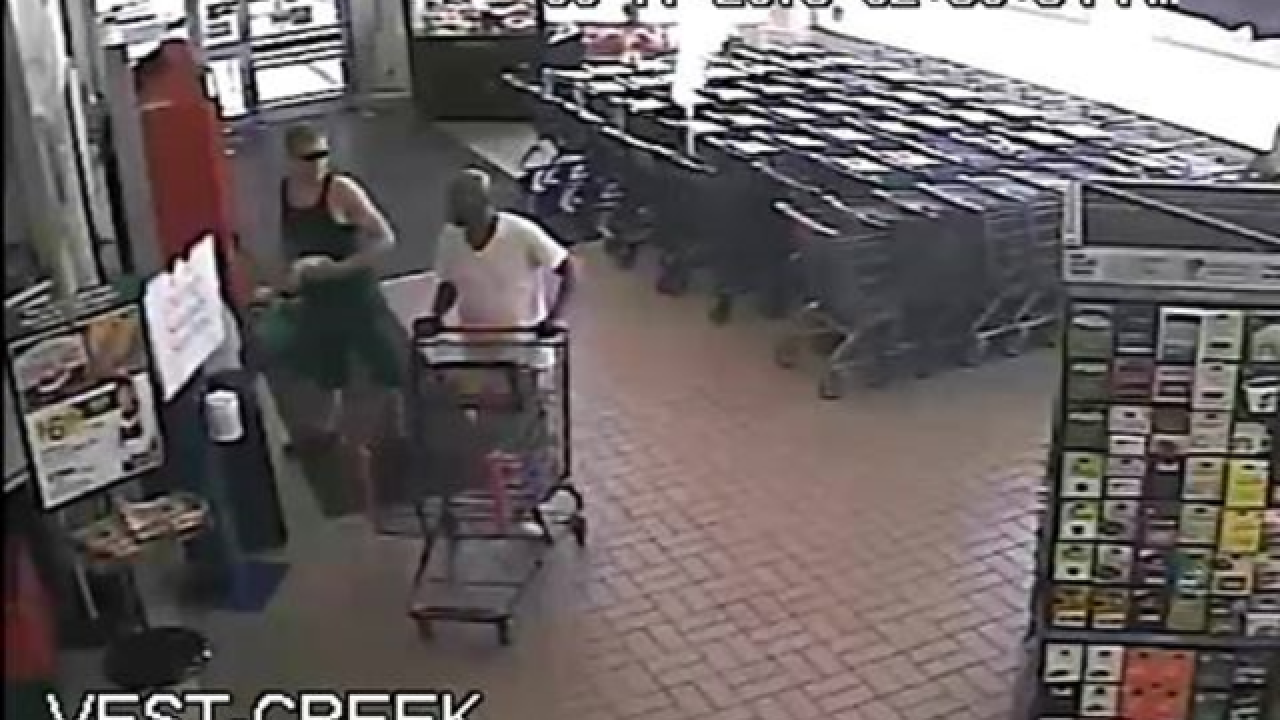 Two suspects sought in larceny from supermarket