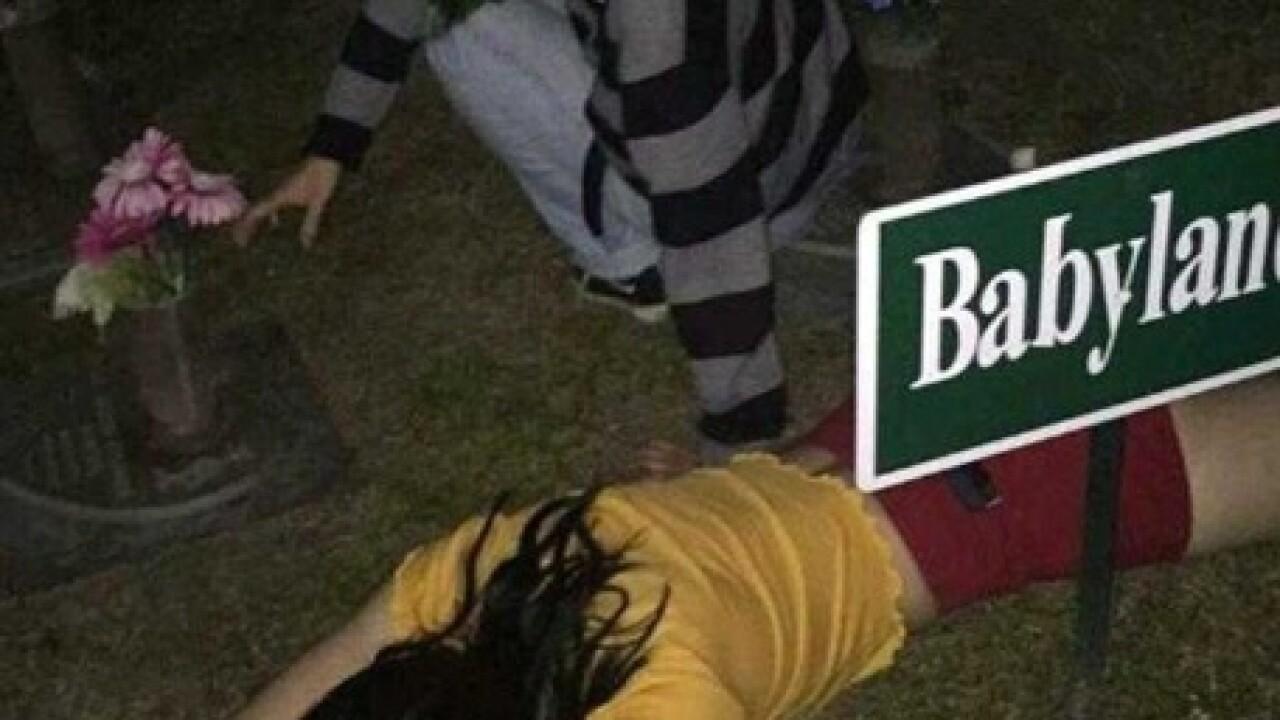 Social media photos show teens on graves