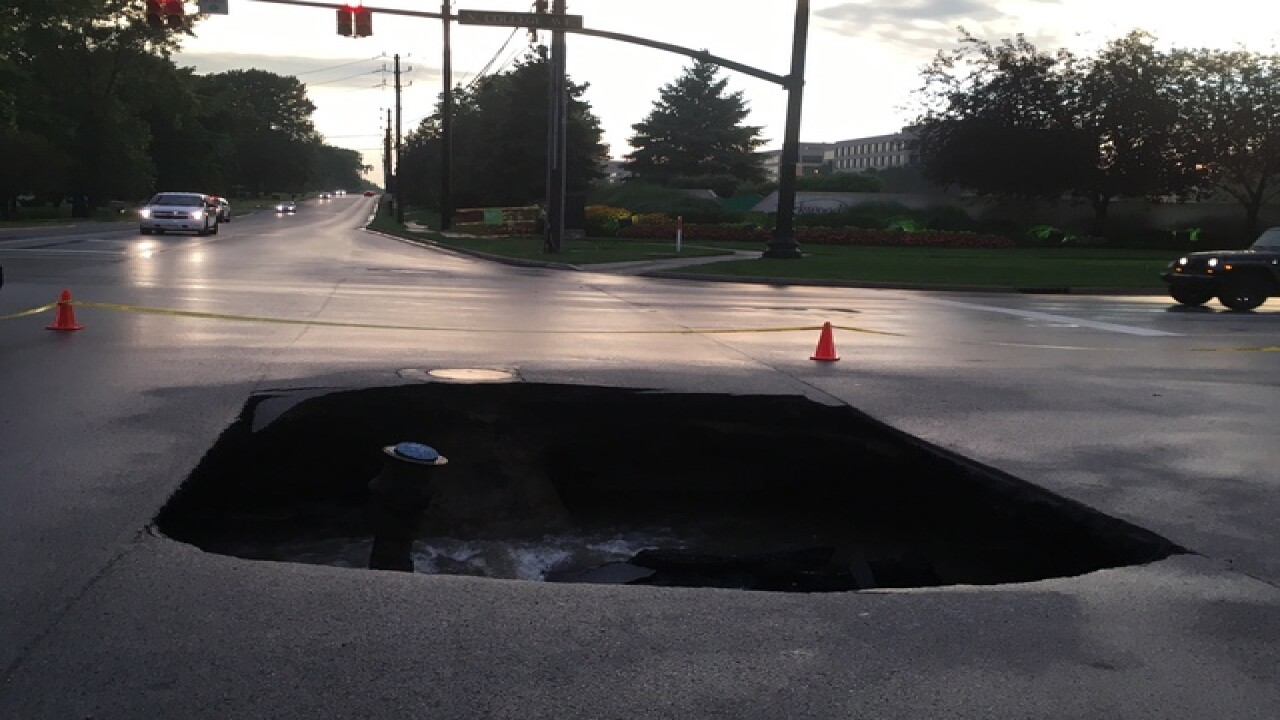 PHOTOS: N. side traffic delayed due to sinkhole