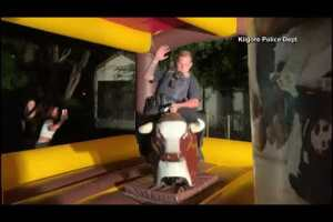 Kilgore police officer rides a mechanical bull