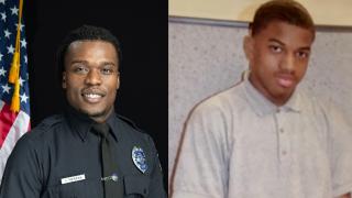 Wauwatosa Officer Joseph Mensah and Alvin Cole