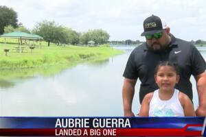 Little girls lures in big catch at Lake Corpus Christi
