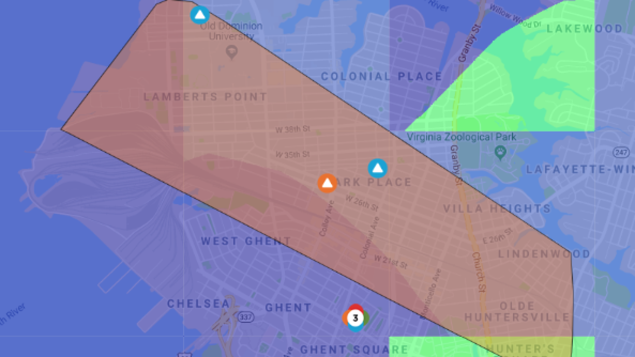 Power outage in Norfolk affecting several areas