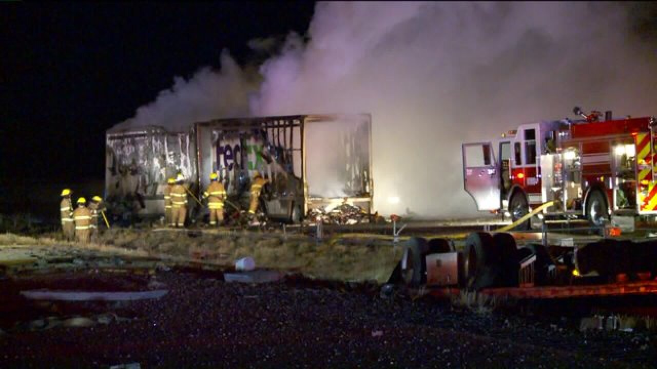 Two killed, I-80 closed after semi trucks involved in fiery crash in Tooele County