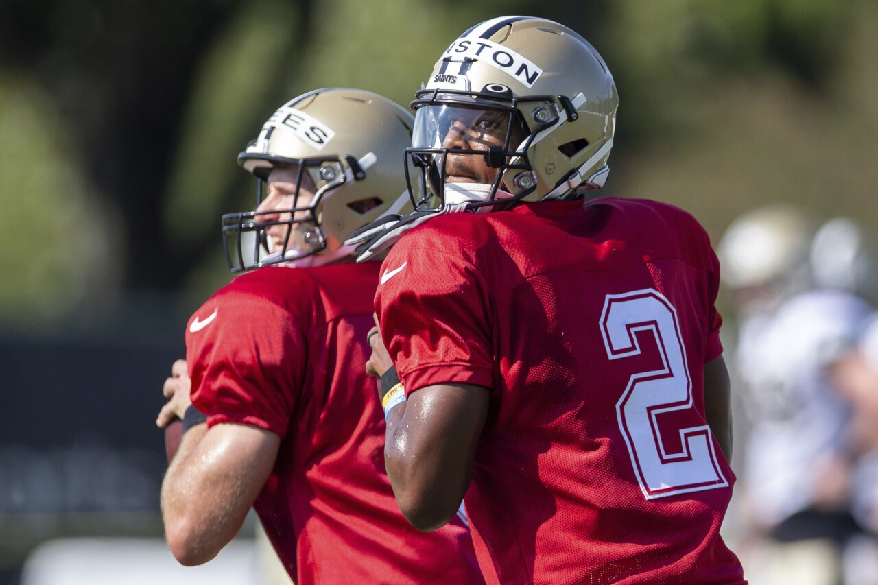 New Orleans Saints QBs Drew Brees and Jameis Winston in training camp, August 2020