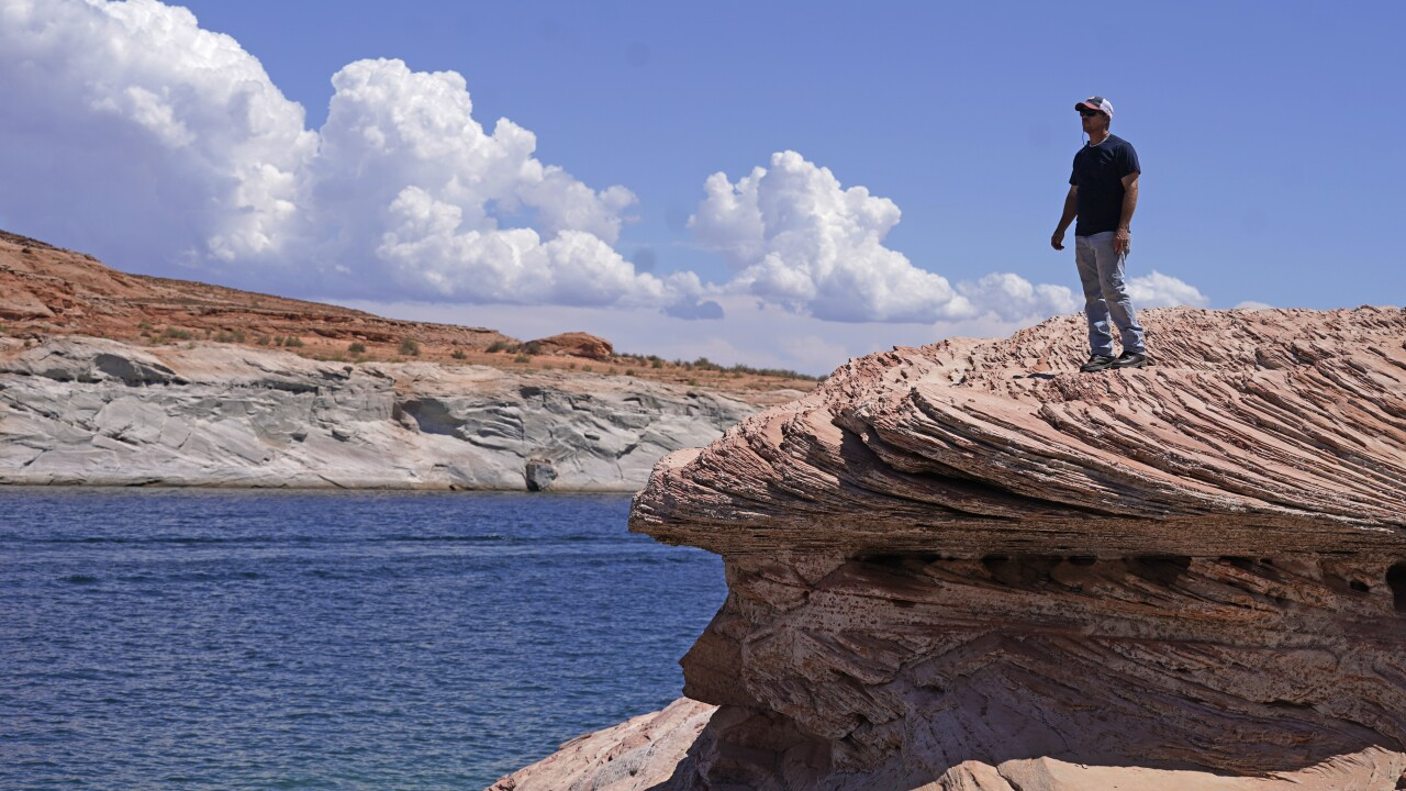 The water level at Lake Powell on the Utah-Arizona border has hit a historic low amid a climate change-fueled megadrought engulfing the U.S. West. AP photo.