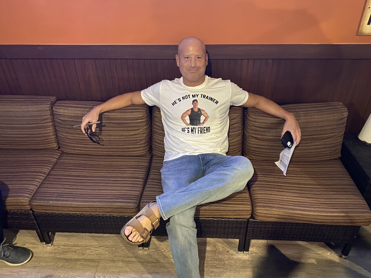 Drew wears shirt of Mark Brockelman