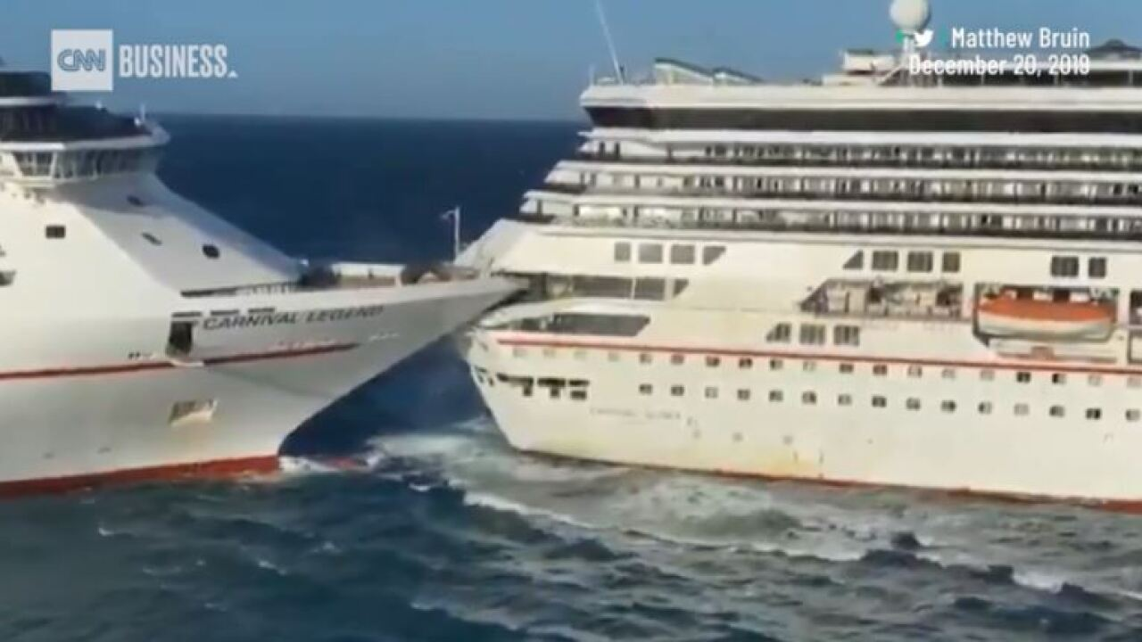 Six people injured after two Carnival cruise ships collide in Cozumel, Mexico