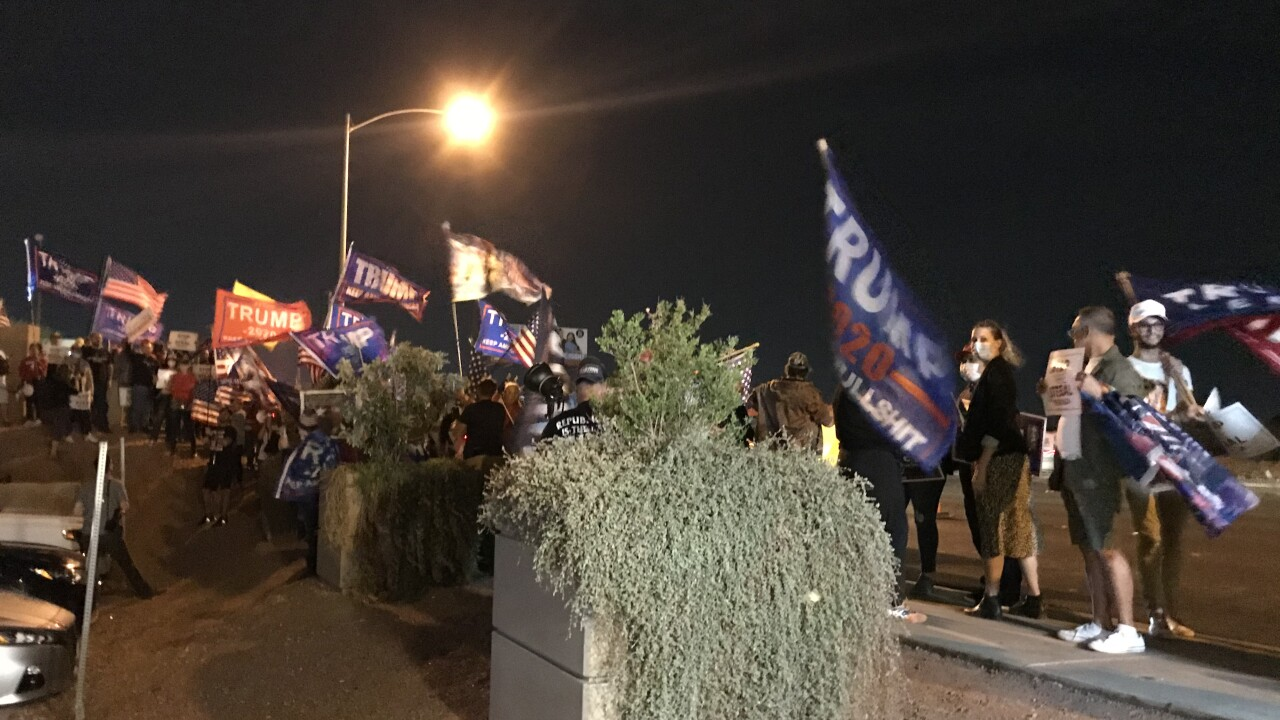 Protests consisting mostly of the president's supporters gathered for a third night outside the Clark County Election Center as seen on Friday, Nov. 6, 2020