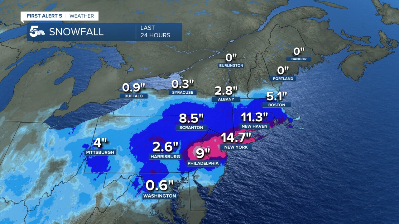 Nor'easter snowfall totals