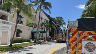 Guests and staff at the Chesterfield hotel in Palm Beach were evacuated after a fire broke out Saturday.