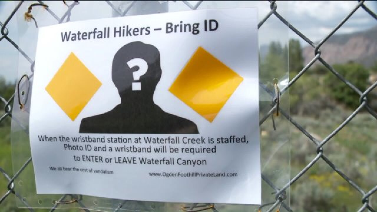 Signs declaring hikers must have ID to enter or leave Waterfall Canyon cause confusion inOgden