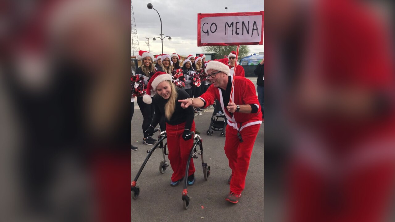 Cerebral palsy couldn't stop this 17-year-old from finishing the Santa Run using a walker