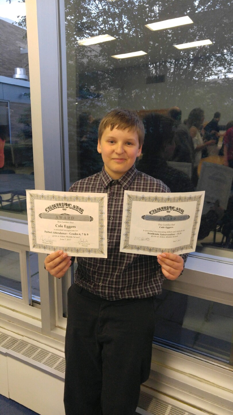 Eggers has 13 certificates at home recognizing his perfect attendance