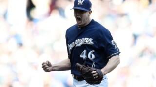 Brewers pitcher Corey Knebel celebrates