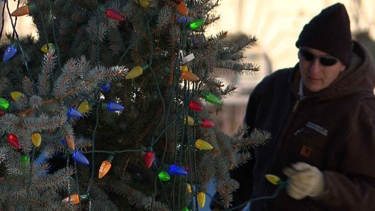 Crews decorating Capitol Christmas Tree