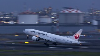 Japan Airlines flight takes off in Tokyo
