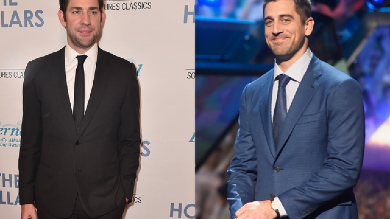 "Rodgers and ""The Office"" actor John Krasinski have look-alike battle on Twitter"