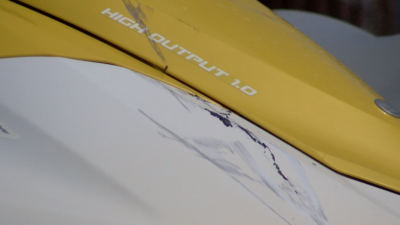 Damage to a jet ski involved in an accident on Fort Myers Beach Monday