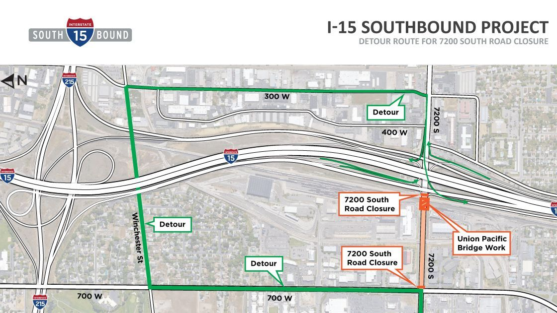 UDOT map showing detour for 7200 South closure Courtesy UDOT