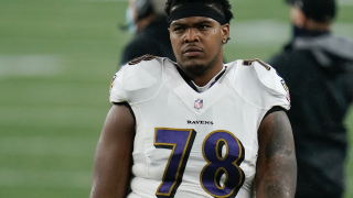 Baltimore Ravens offensive lineman Orlando Brown Jr. (78) walks off the field following an NFL football game against the New England Patriots Sunday, Nov. 15, 2020, in Foxborough, Mass. (AP Photo/Stew Milne)