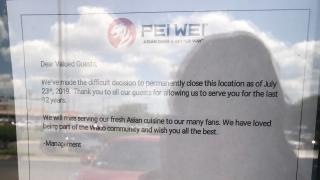Waco Pei Wei closed sign