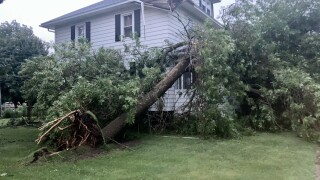 Tree damage to home in Oconto Falls