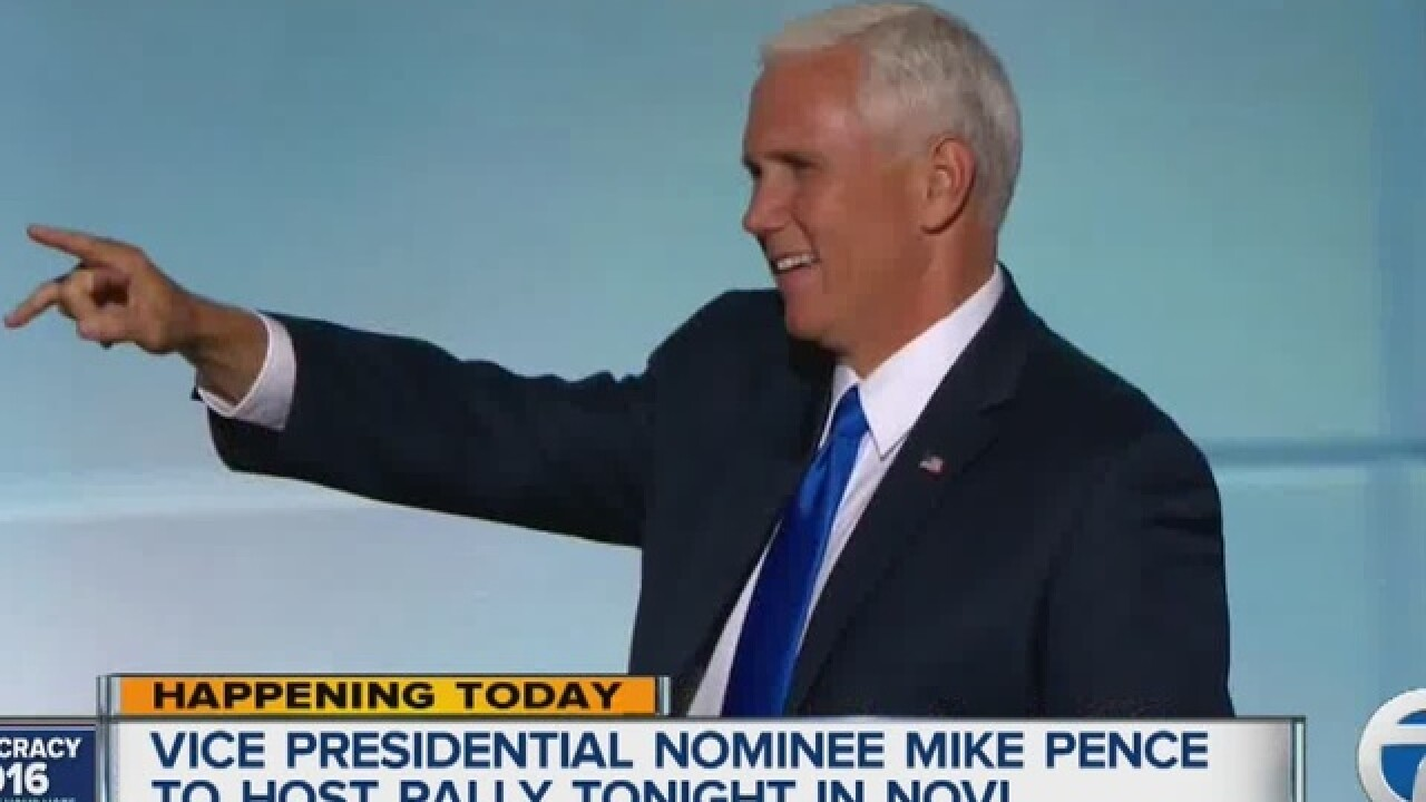Mike Pence headed to Novi on Thursday