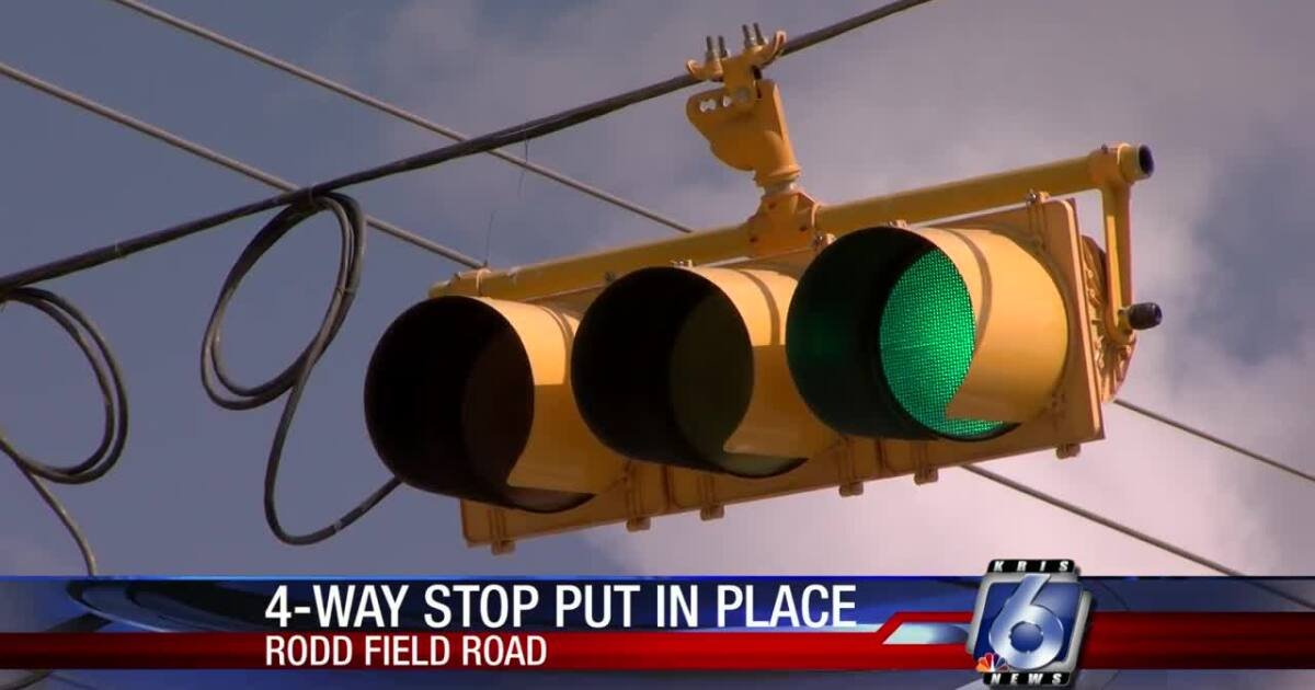 Temporary four-way stop installed on Rodd Field Road