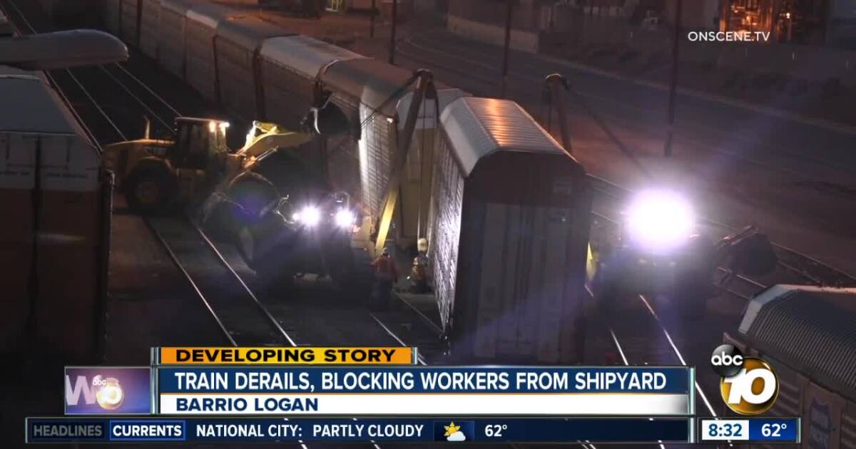 19 train cars derail overnight in Barrio Logan
