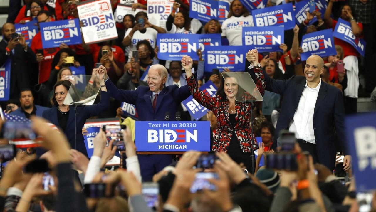 Kamala Harris and Cory Booker support Joe Biden at Michigan rally, March 2020