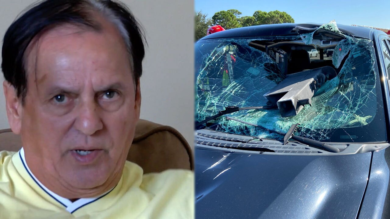 South Florida driver survives metal smashing through windshield on highway