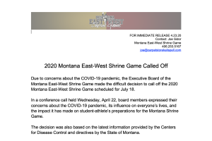 2020 Montana East-West Shrine Game press release