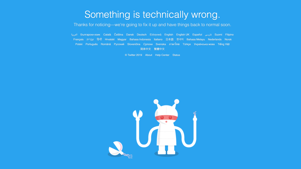 Twitter suffers a nationwide outage
