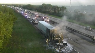 Semi engulfed by flames on the Turnpike southbound in Martin County