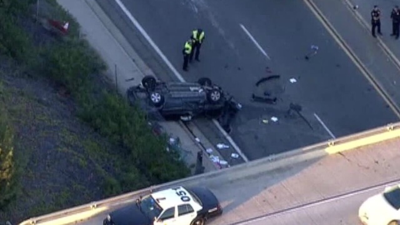 Car flies off 905 freeway in South Bay