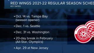 Red Wings announce 2021-22 schedule