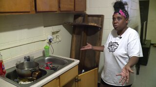RRHA resident says leaking pipes flooded her kitchen: 'It was overflowing thebuckets'