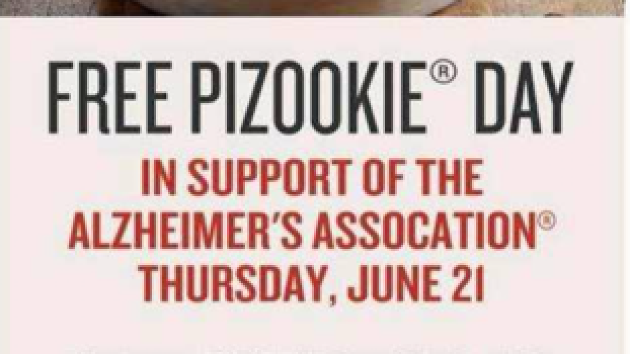 Free Pizookie Day Thursday to benefit the Longest Day and Alzheimer's Association
