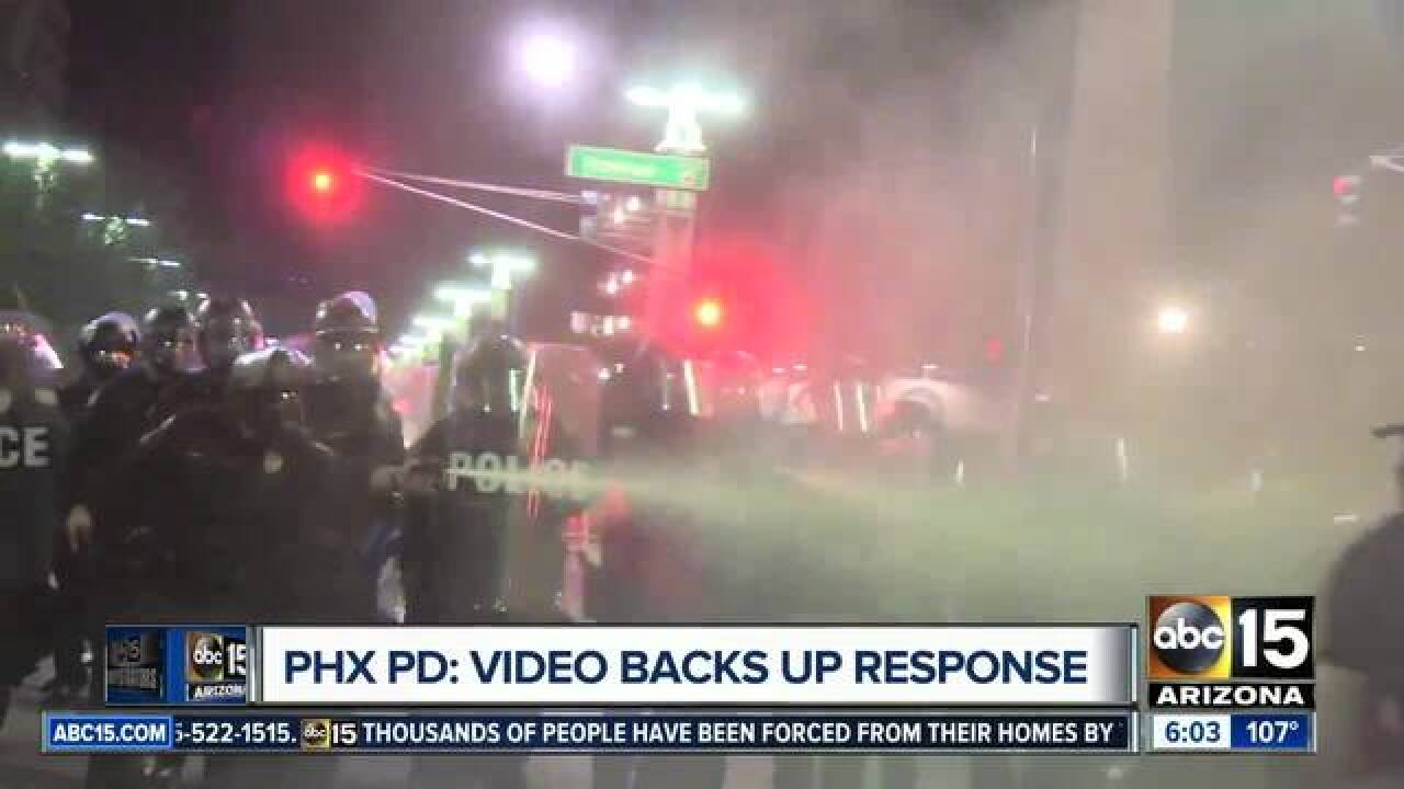 PHX PD: Videos show protesters attack first